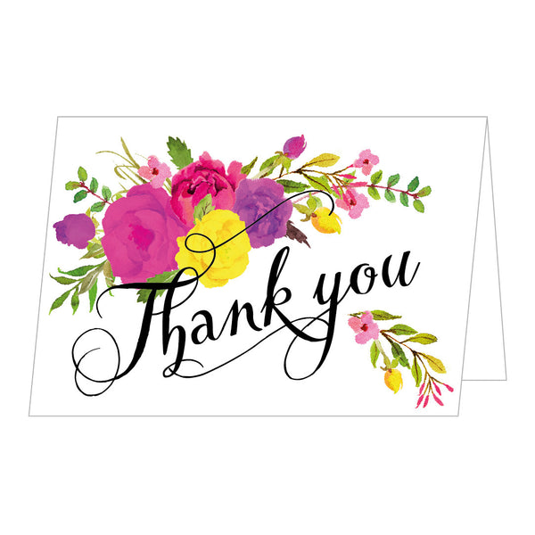 Floral Affair Thank You Cards, Bespoke Colourway, pack of 10