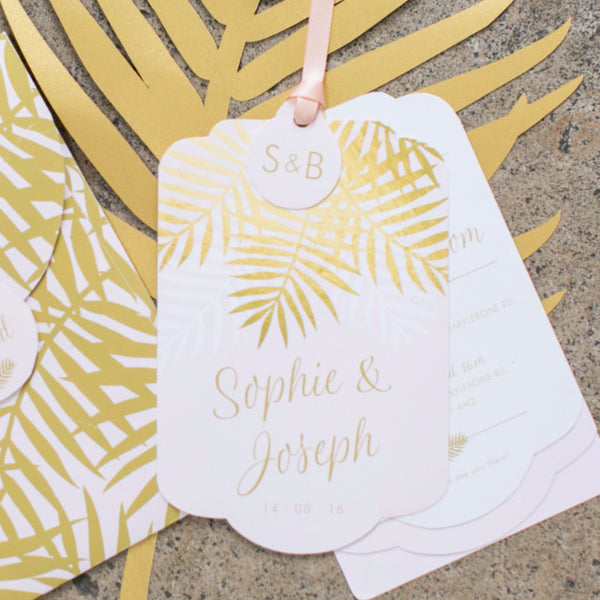 Palms Luxe Invitation suite in Gold foil on Blush