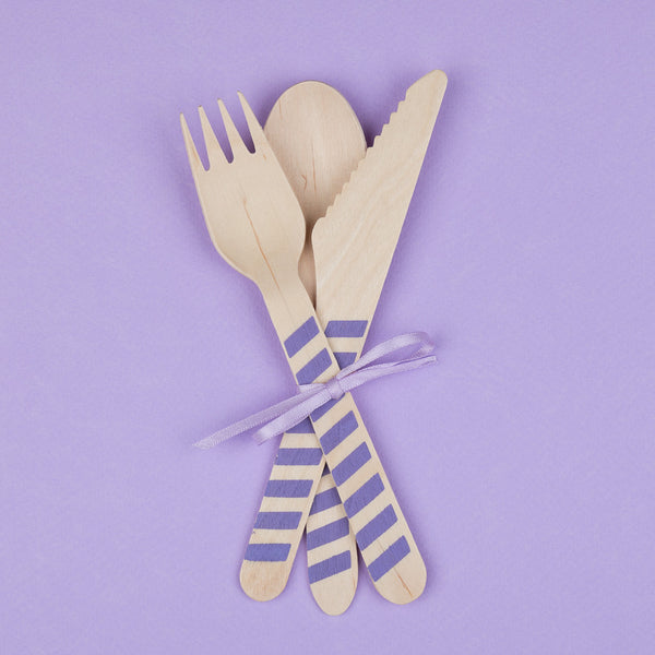 "Wooden Party Cutlery<BR>Lilac Stripe<BR><font color=""#ae9a64"">Pack of 10"