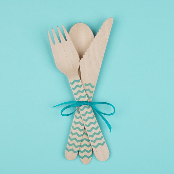 "Wooden Party Cutlery<BR>Turquoise Chevrons<BR><font color=""#ae9a64"">Pack of 10"