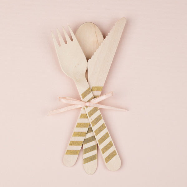 "Wooden Party Cutlery<BR>Gold Stripe<BR><font color=""#ae9a64"">Pack of 10"
