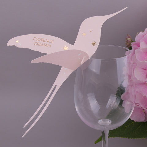 Stardust Hummingbird Wine Glass Place Cards, personalised