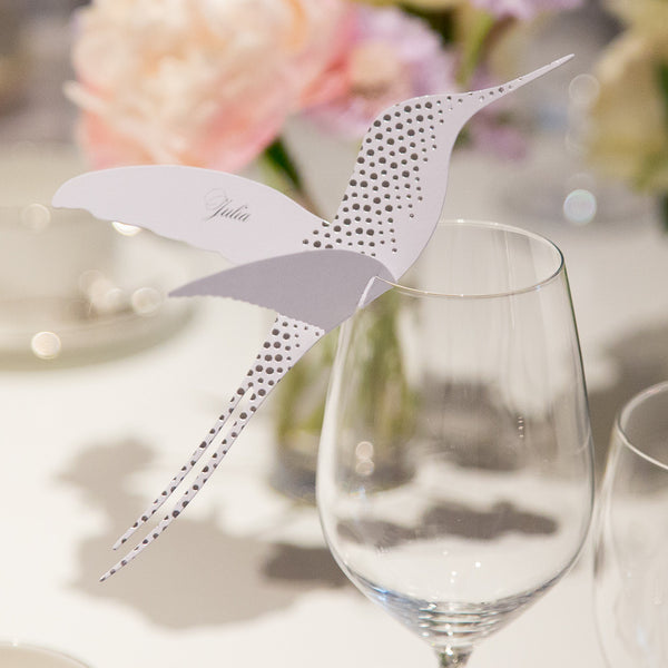Corinthia Hummingbird Wine Glass Place Cards, personalised
