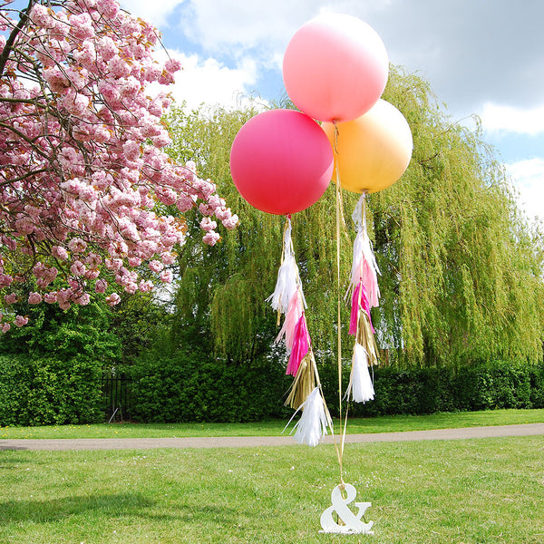 "Giant Round Tasselled Helium Balloons - Blush<BR><font color=""#ae9a64"">Pack of 3"