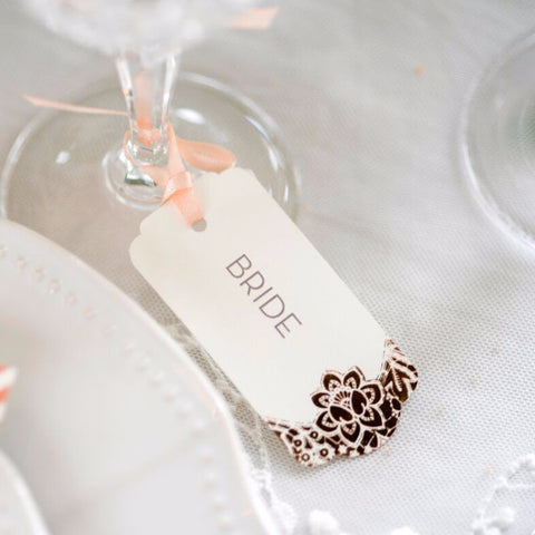 Modern Metallics Foil Lace Luggage Tag Place Card,  blank