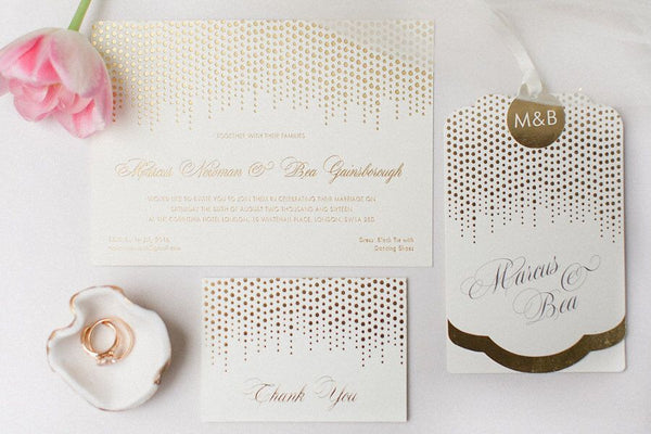 Corinthia Luxe Invitation suite in Gold foil on Ivory