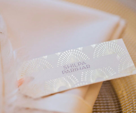 DECOdence Foil Luggage Tag Place Cards, personalised