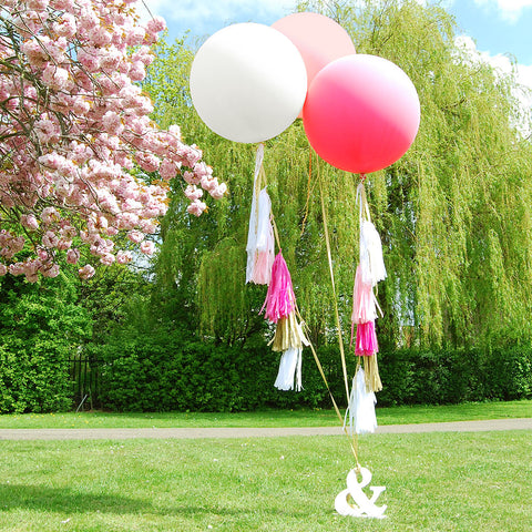 Giant Round Tasselled Helium Balloons Rose
