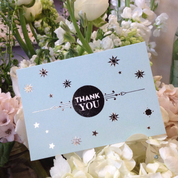 Stardust Thank You Cards in Blush & Duck Egg Blue, pack of 10