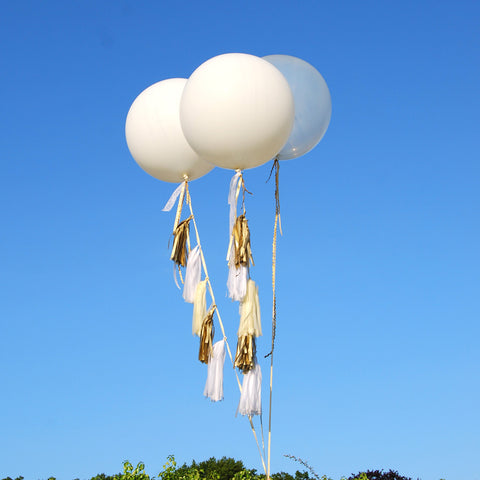 Giant Round Tasselled Helium Balloons, All White