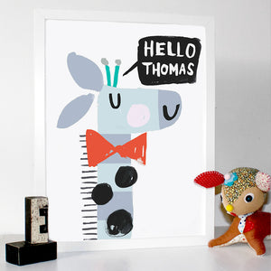 Boys Personalised Giraffe Print