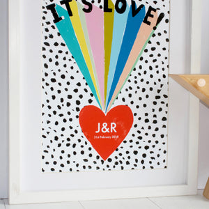 It's Love Personalised Rainbow Print