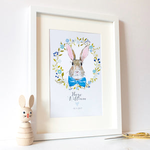Personalised Bunny Rabbit Print Blue