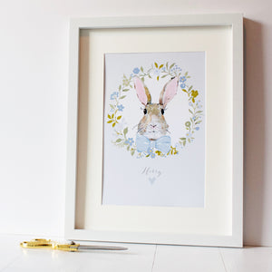 Personalised Bunny Rabbit Print Baby Blue