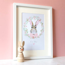 Load image into Gallery viewer, Personalised Bunny Rabbit Print Baby Pink