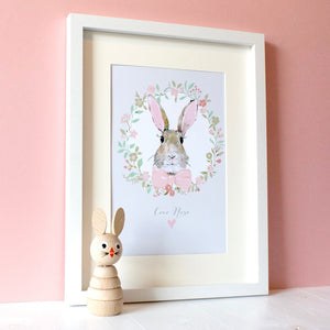 Personalised Bunny Rabbit Print Baby Pink