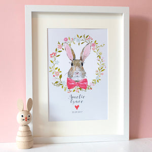 Personalised Bunny Rabbit Print Pink