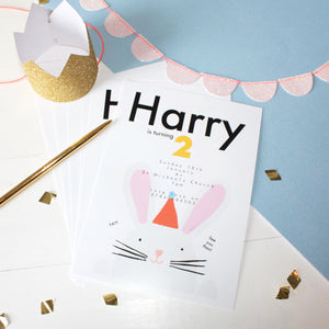 Rabbit Children's Birthday Party Invitations