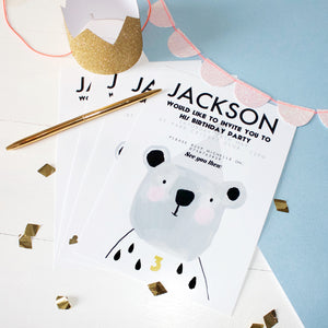 Bear Children's Birthday Party Invitations