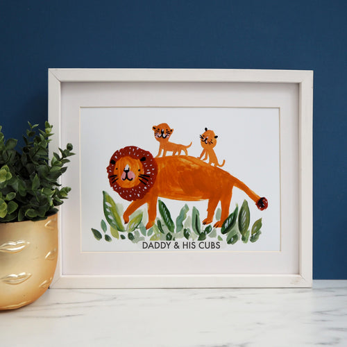 Daddy Lion & Cubs Personalised Print