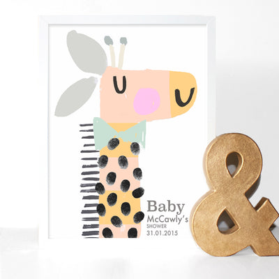 Elanor Bowmer orange giraffe fingerprint personalised baby shower print