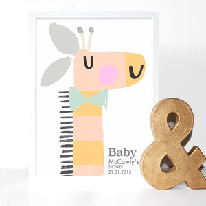 Baby Shower Orange Fingerprint Keepsake Print