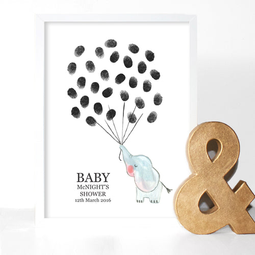Baby Shower Elephant Fingerprint Keepsake Print