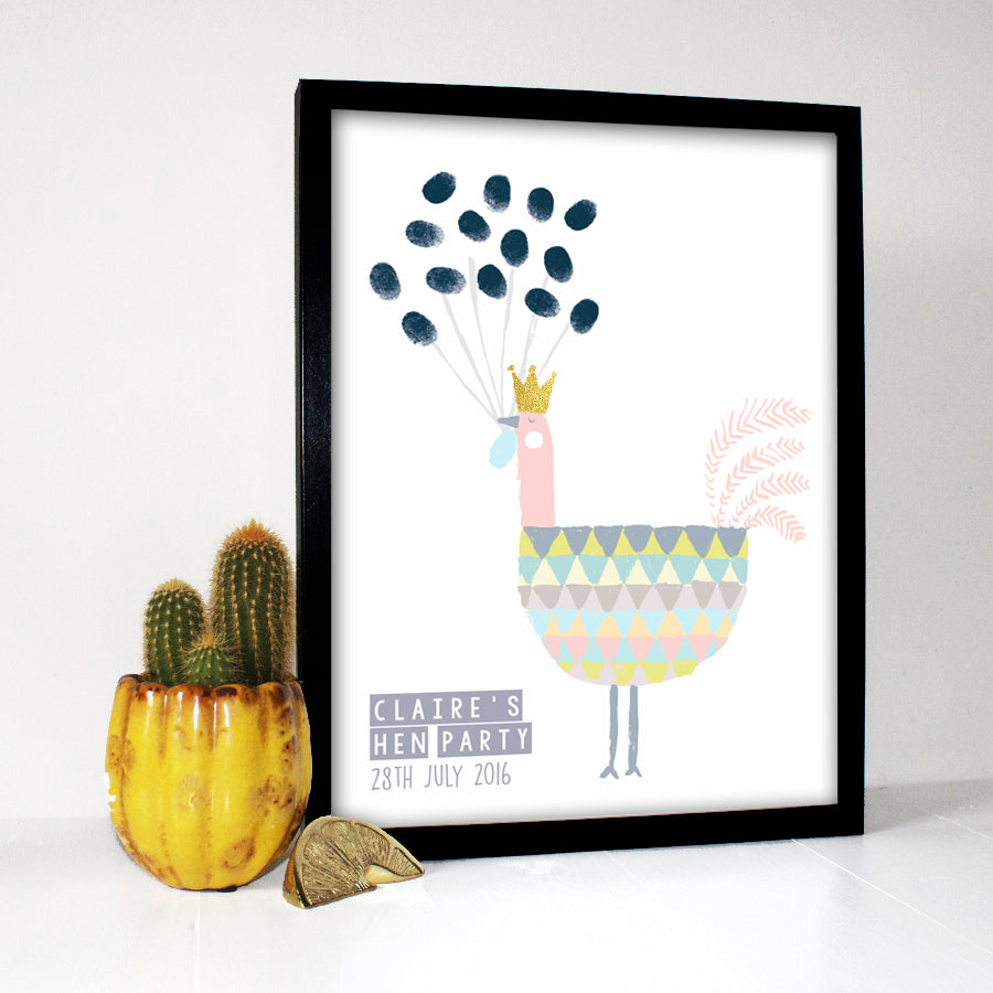 Hen Party Fingerprint Keepsake Print