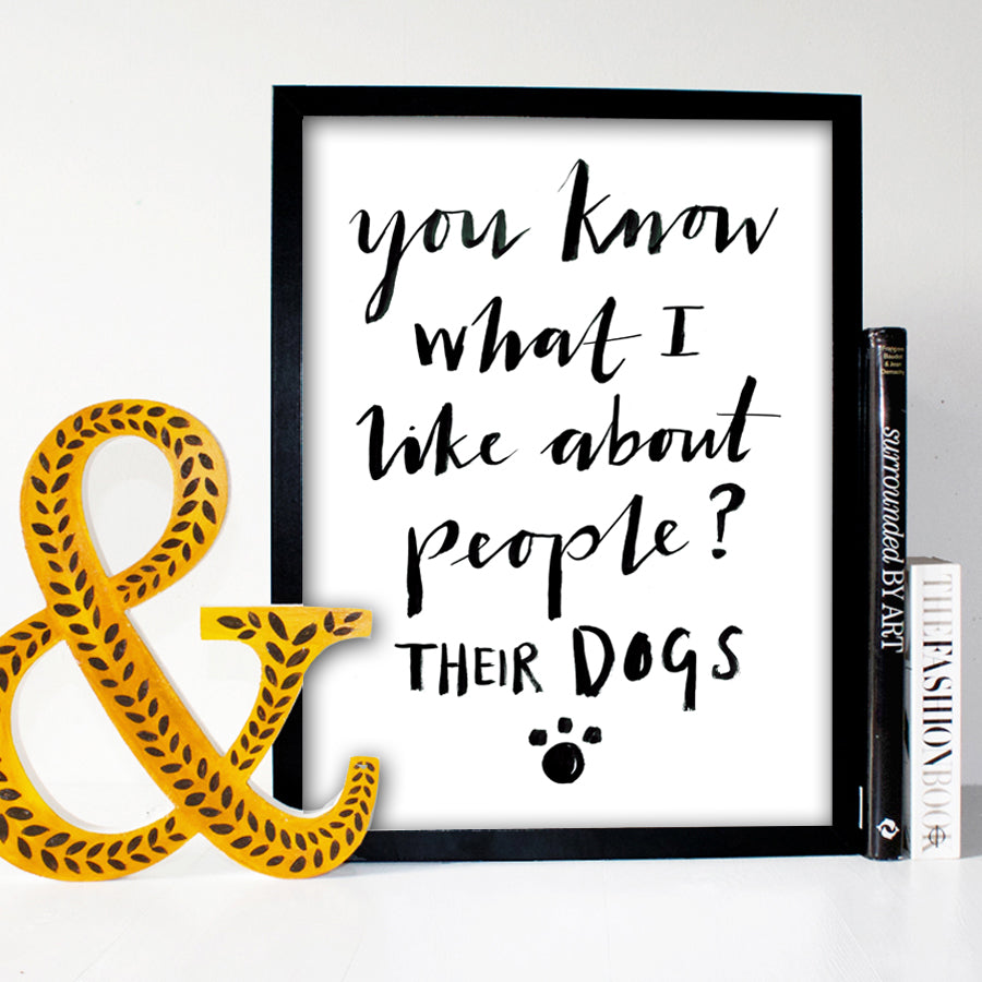 I Like Dogs Typography Print