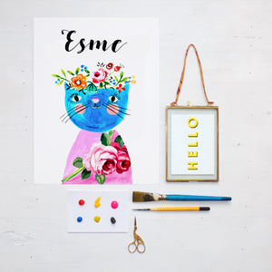 Frida Cat Personalised Print