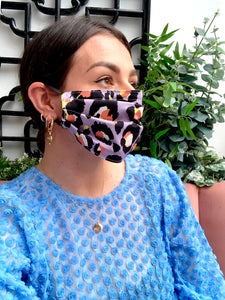 Lilac Leopard Print Face Mask