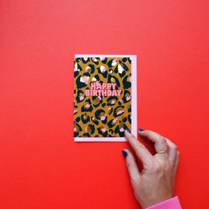 Happy Birthday Leopard Print Card