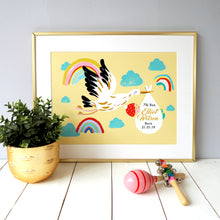 Load image into Gallery viewer, New Baby Stork Print