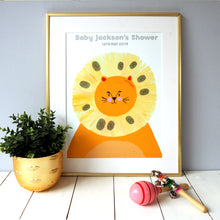 Load image into Gallery viewer, Baby Shower Lion Fingerprint Keepsake Print