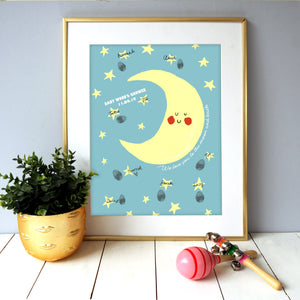 Baby Shower Moon and Stars Fingerprint Keepsake