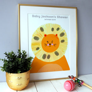 Baby Shower Lion Fingerprint Keepsake Print