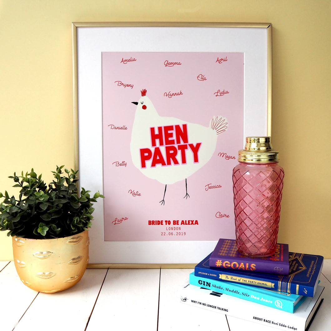 Personalised Hen Party Keepsake Print