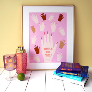 Personalised Hands Hen Party Print