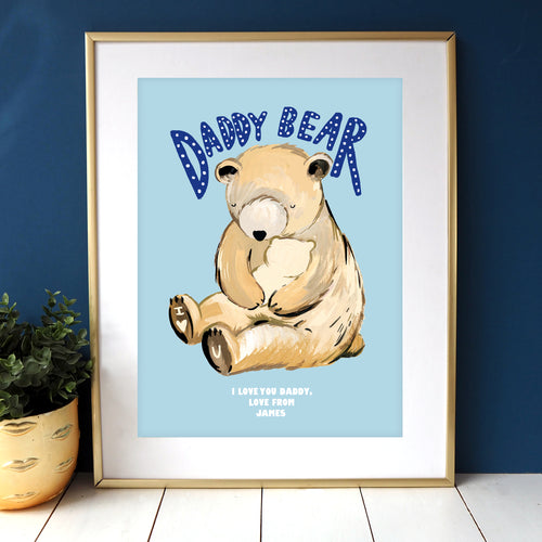 Daddy Bear Personalised Blue Print