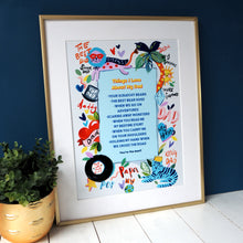 Load image into Gallery viewer, Eleanor Bowmer Things I love About My Dad personalised artwork print in A4 or A3