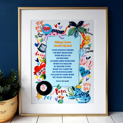 Eleanor Bowmer Things I love About My Dad personalised artwork print in A4 or A3