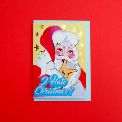 Eleanor Bowmer 'I hate Christmas' greeting card with Santa on, hand painted and gold foil stars