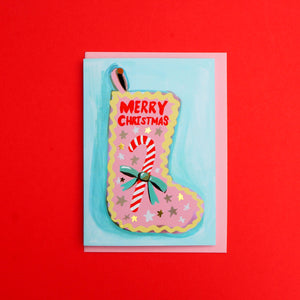 *SALE* Merry Christmas Stocking Gold Foiled Card
