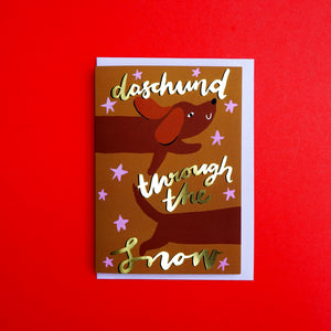 Dachshund Through The Snow Gold Foiled Christmas Card