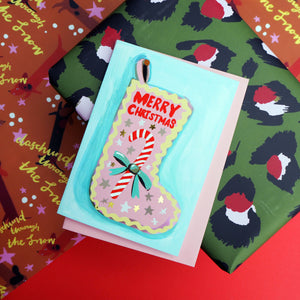 Merry Christmas Stocking Gold Foiled Card