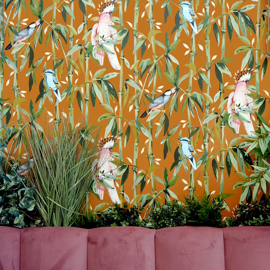 Exotic Bamboo Wallpaper Burnt Sienna
