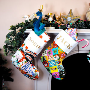 Personalised Name Festive Patchwork Christmas Stocking