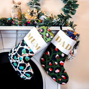 Personalised Name Green Leopard Print Christmas Stocking