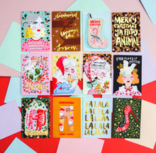 Load image into Gallery viewer, Falalalala Carol Gold Foiled Christmas Card