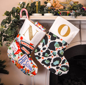 Personalised Initial Grey Leopard Print Christmas Stocking